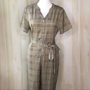 Harlo Plaid Belted Jumpsuit Size Large